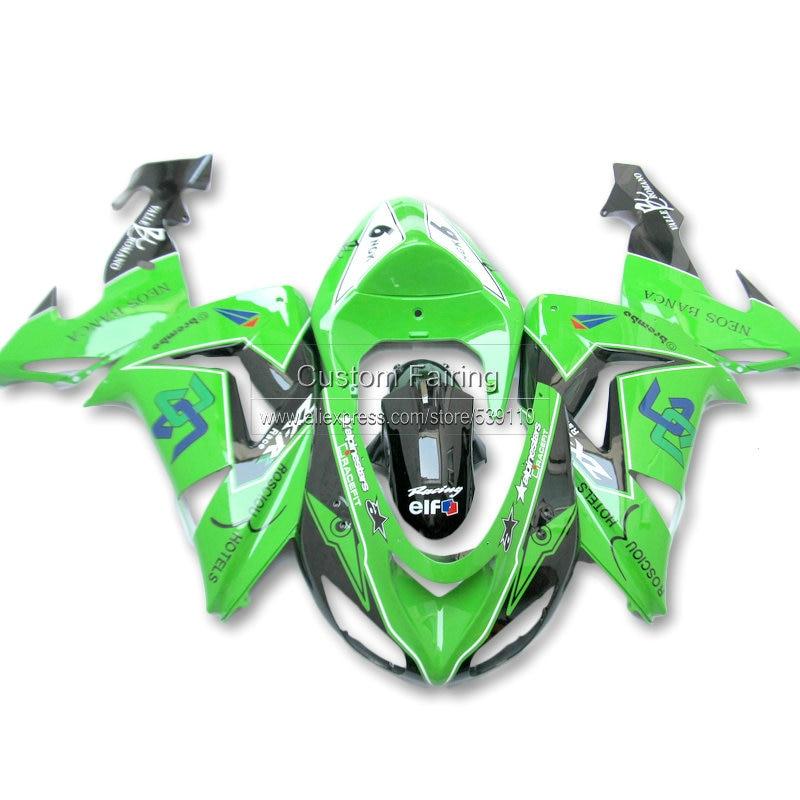 ABS Fairing kit for Kawasaki ZX10R zx 10r 2006 2007 Ninja green black line 07 06  fairing kit xl36 abs plastic fairings for kawasaki ninja zx6r 2005 2006 green black motorcycle fairing kit zx6r 05 06 ty32