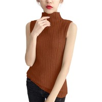 7 Colors Elegance High Elastic Women Pullover Sweater Fashion All Match Sleeveless Stand Collar Slim Ladies