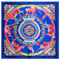 "New Hot Sale Women Scarf Rayon 24"" 60cm Kerchief Bohemia Ethnic Wind Abstract Art Horse Pattern Shawl Brand Hijab SP1610104"