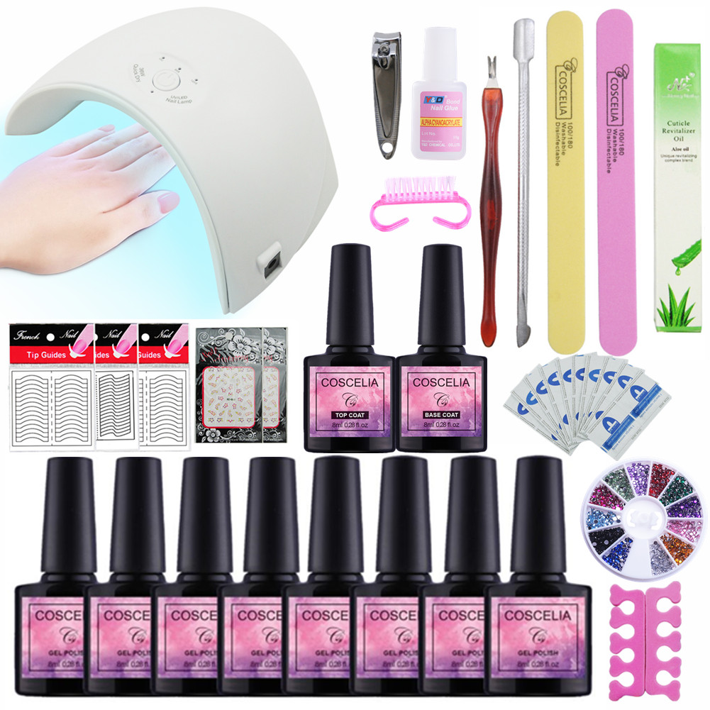 8 Colors Gel Varnish Nail Polish Nail Set Kits Nail Art Manicure Tools UV Led Lamp Nail Dryer Gel Manicure Kits patrisa nail дегидратор nail prep 8 мл