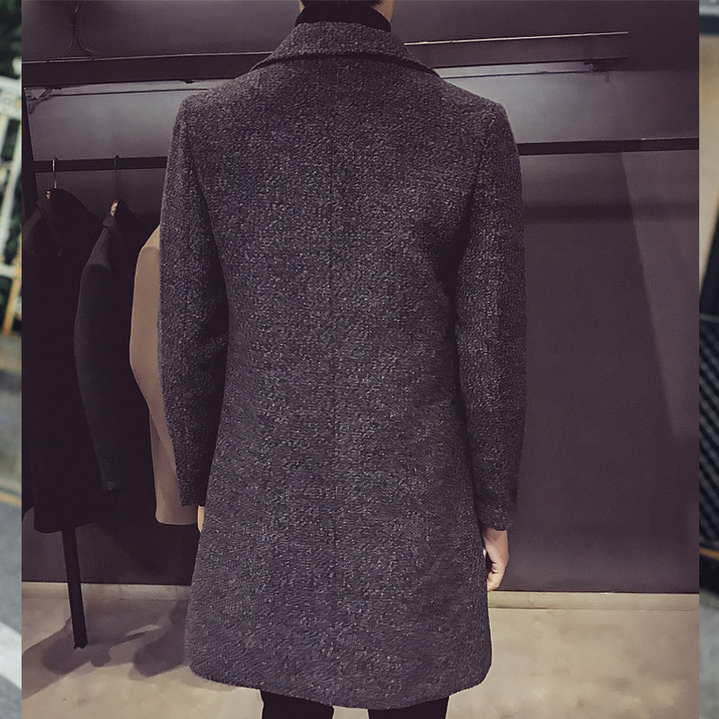 Nuevo gabardina larga para hombre, gabardina de lana de moda para hombre, cortavientos, sobretodo Steampunk para hombre, abrigos casuales C75NF21 - 6