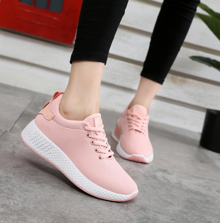 Zapatillas Negro Llegada Primavera Air blanco Cuñas 2018 Mujeres Mesh Transpirable rosado Nueva 40 Tamaño Zapatos Mujer Algodón Femeninos Agutzm 35 xp1qIBn