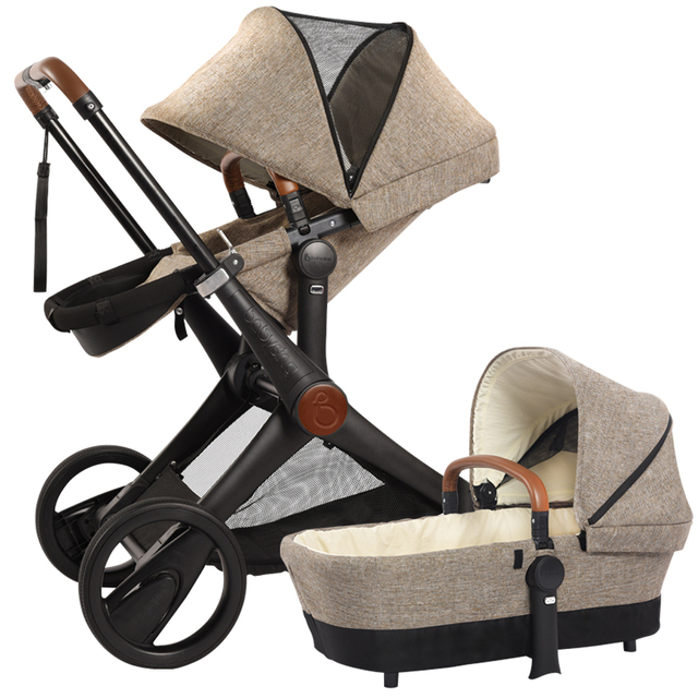 High Quality 2-Way Baby Stroller 2 in 1 (Pushchair+ Carrycot),  4 Wheels Baby Carriage, SUV Pram , Can Sit & Lie