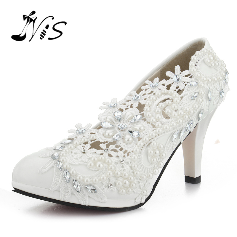 Pumps Handmade Lace Pearl Wedding Shoes Rhinestones White Bridal Shoes Bridesmaid Banquet Dress