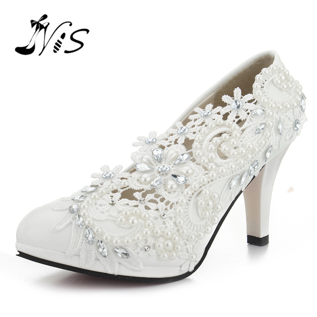 Pumps Handmade Lace Pearl Wedding Shoes Rhinestones White Bridal Shoes  Bridesmaid Banquet Dress Women 8cm High ffb4cd201fb2