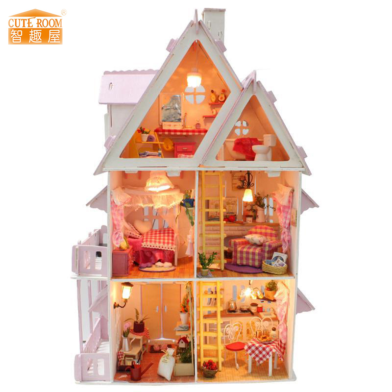 Perabot DIY Doll House Wodden Miniatura Doll Houses Furniture Kit - Anak patung dan aksesori - Foto 4