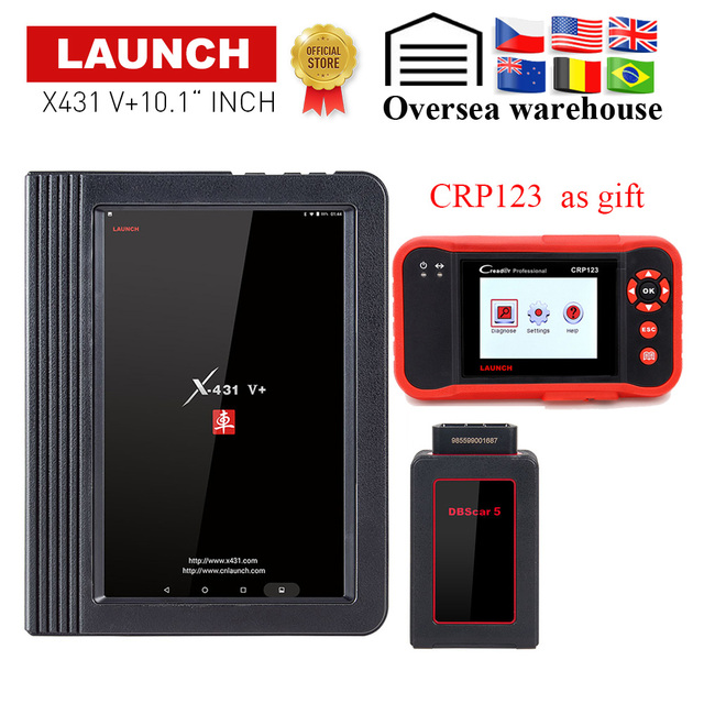 New Price LAUNCH X431 V+ 10.1' inch Wifi/Bluetooth Full System Auto Diagnostic tool X-431 V+/Pro 3 obd2 Car Scanner send CRP123 as gift