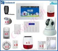 Индивидуальные 7 дюймов Сенсорный экран 868 gsm сигнализация + ip камера видеонаблюдения + Солнечная сирена для домашней безопасности WI FI сигнал