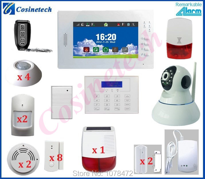 Customized 7 inch Touch screen 868 gsm alarm system+surveillance IP camera+Solar siren for home security WIFI alarm system alc aws3266 7 inch connected touch screen surveillance system black