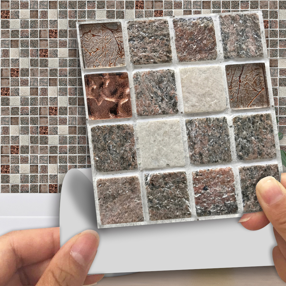 funlife 1010cm stone mosaic self adhesive waterproof tv background cafes rroom decor bedroom tile sticker wall decals mts010 in wall stickers from home