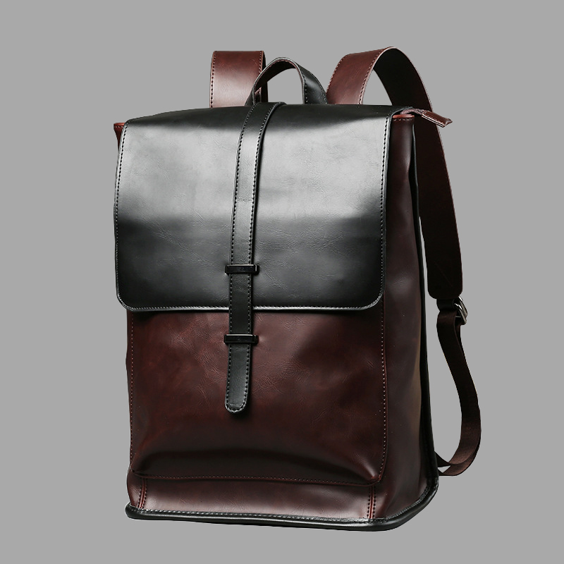 Vintage Laptop Leather Backpacks for School Bags Men PU Travel Leisure Backpacks Retro Casual Bag Schoolbags Teenager Students image