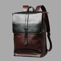 Vintage Laptop Leather Backpacks for School Bags Men PU Travel Leisure Backpacks Retro Casual Bag Schoolbags Teenager Students