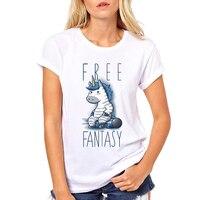 Women's New Fashion Cartoon Fantasy Cute Animal Printed Short Sleeve T-Shirt Summer Cool Unicorn Design Tops