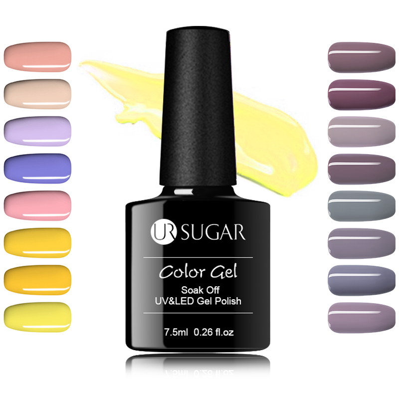 UR SUKKER 7,5 ml Soak Off UV Gel Polsk Gul Serie Pure Color Nail Art - Negle kunst - Foto 1