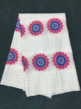 5 Yards/pc Wonderful white african cotton fabric with blue and fuchsia sun flower swiss voile lace embroidery for clothes BC12-4