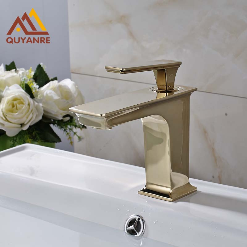 Free Shipping Single Handle Basin Sink Faucet Golden Color Brass Bathroom Mixer Taps free shipping brass rose golden lavatory sink basin faucet one handle single hole bathroom vanity sink mixer taps