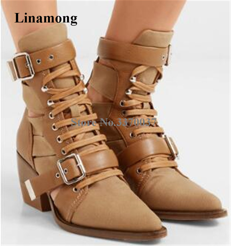 New Design Women Pointed Toe Metal Belt Buckle Low Heel Short Boots Cut-out Brown Blue Ankle Booties Western Knight BootsNew Design Women Pointed Toe Metal Belt Buckle Low Heel Short Boots Cut-out Brown Blue Ankle Booties Western Knight Boots
