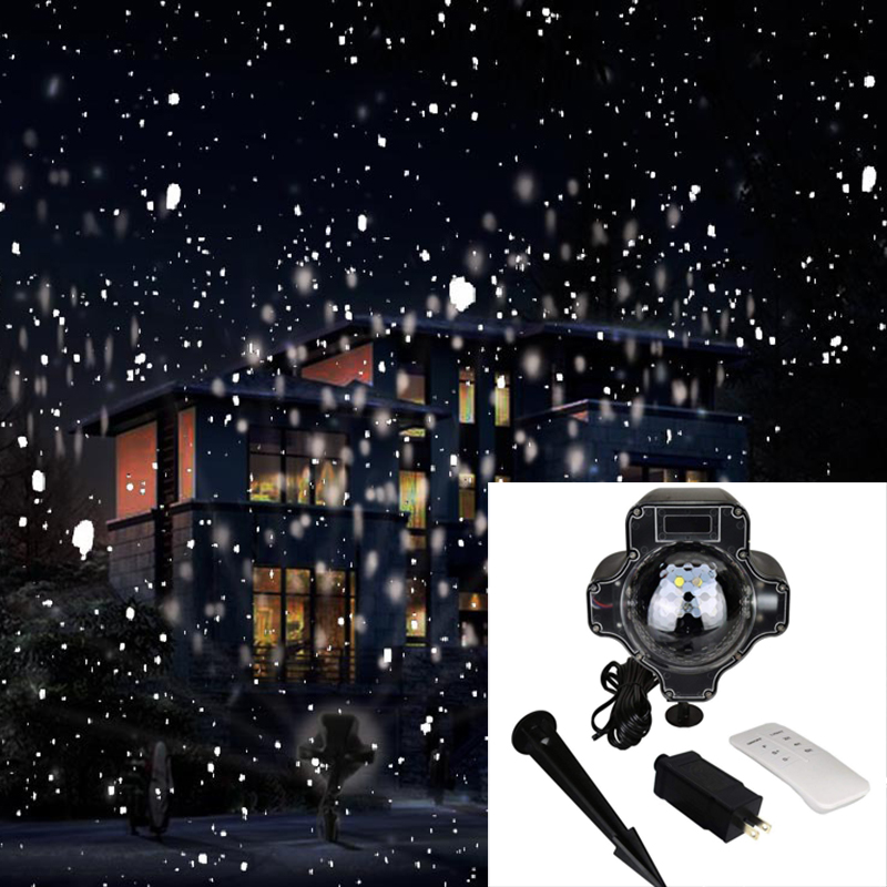 Christmas Decoration LED Snowing Projection Light with Rotating Snowflake Effects Relaxing Light Show Outdoor Garden Landscape