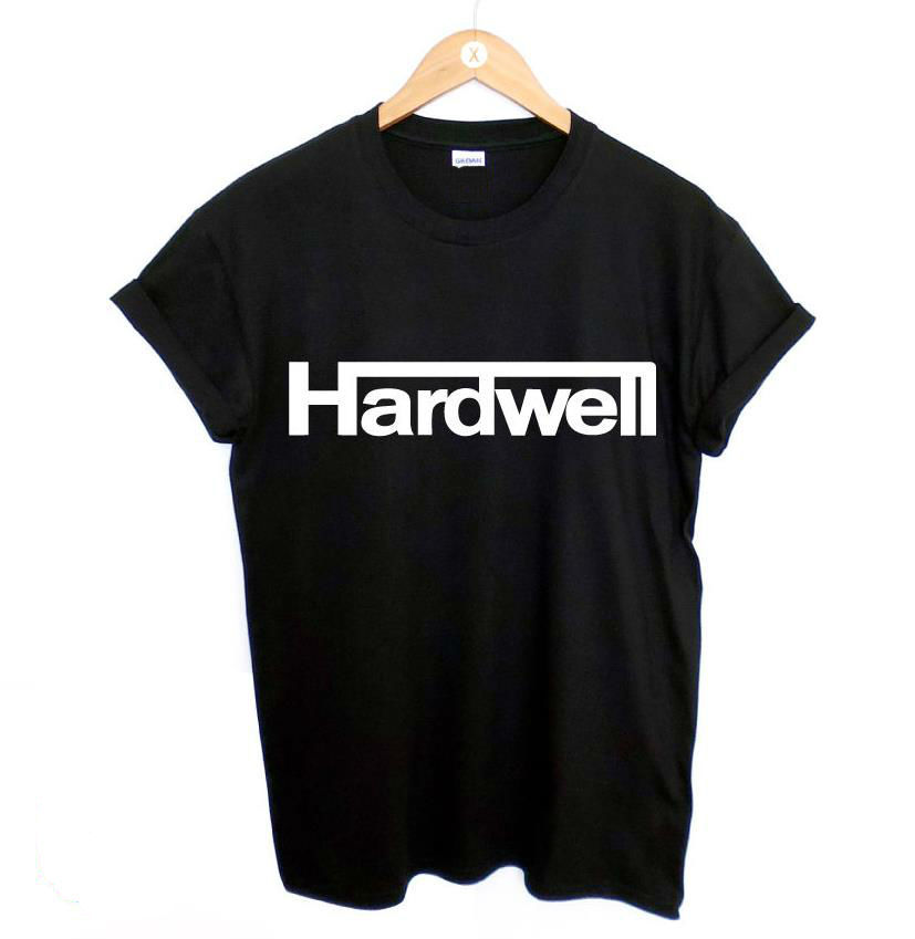 Harajuku Women Tshirt HARDWELL Letters Print Funny Cotton Shirt For Lady Top Tee Hipster Black BZ203-143