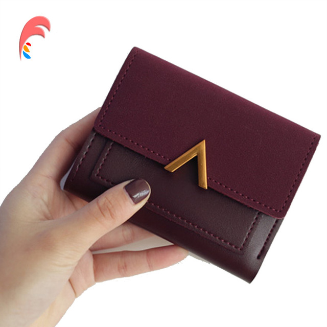 6df3a1282 Matte Leather Small Women Wallet Luxury Brand Famous Mini Women Wallets And  Purses Short Female Coin