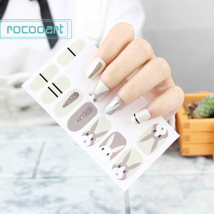 1 PC Women Nail Manicures Tool Gel Full Cover Wraps Decal Adhesive Nail Art Sticker Rabbit Flag Nail Stickers For Girls Gift
