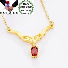 MHXFC Wholesale European Fashion Woman Female Party Wedding Gift Oval Water Drop Zircon Real 24KT Gold Pendant Necklace NL180(China)