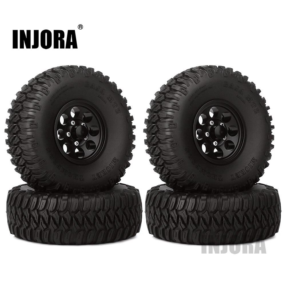 INJORA 4Pcs 1 55 Aluminum Wheel Tires 1 55 Inch Tyre for RC Crawler Car D90