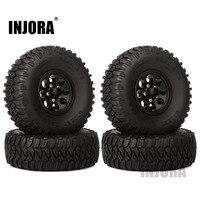 "INJORA 4Pcs 1.55"" Aluminum Wheel Tires 1.55 Inch Tyre for RC Crawler Car D90 TF2 Tamiya CC01 MST JIMNY Axial AX90069 1"