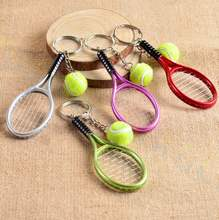 Tennis bag Pendant plastic mini tennis racquet key ring small Ornaments sport keychain fans souvenirs key chain gifts(China)