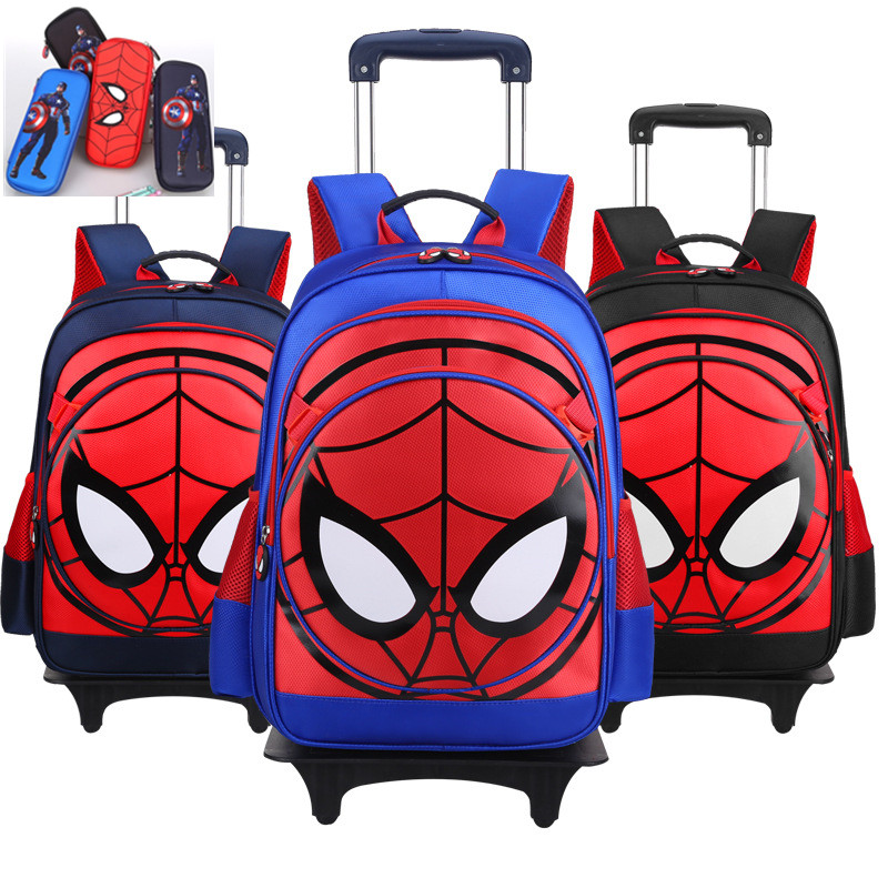 Kids Primary School 3D Spiderman Trolley Backpack Spider Man Cartoon Student Children Boys Rolling Backpacks Daypack drop shipping 1pcs retail hot sales 3d cartoon spiderman kids student boys birthday gifts watch quartz silicone alloy wristwatch