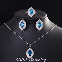 2015 CWW Model Vogue Mild Blue Sapphire Cubic Zirconia Crystal 925 Sterling Silver Jewellery Units For Girls T190