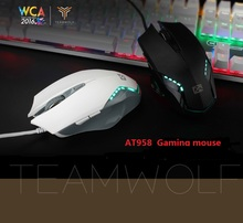 Original TEAMWOLF AT958 Wired Gaming Mouse USB Optical  Breathing  LED Lights Mouse Gamer 4000 DPI  For PC Laptop Desktop