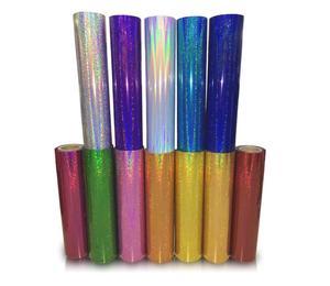 "Image 2 - Free shipping 1 sheet 10""x20""/25cmx50cm Laser Heat Transfer Vinyl Hologram Rainbow PVC Press Tshirt Iron On HTV Film"
