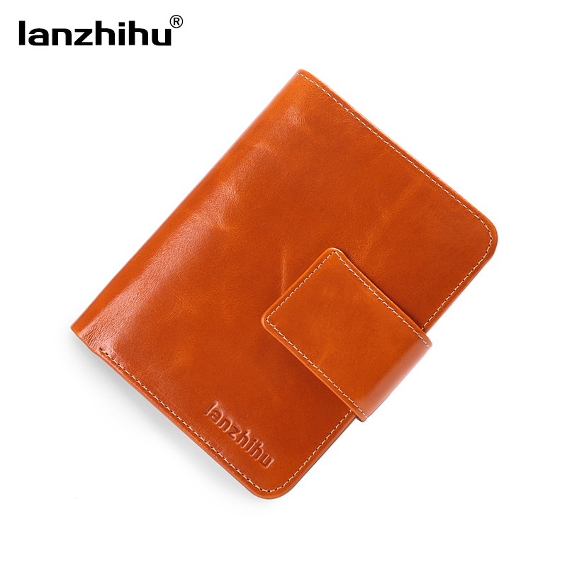 2017 New Women Genuine Leather Wallet Short Fashion Cowhide Leather Vintage Bifold Wallets Coin Pocket Clutch Card Holder Purse
