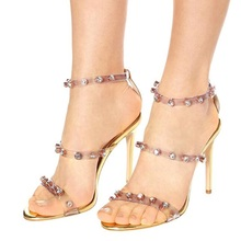 2019 PVC Sandals Crystal Open Toed Patchwork Gold Sandals Rivets Studded Stiletto High Heeled Wedding Woman Dress Shoes стоимость
