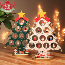 Christmas Gift 1pc mini table XMAS trees Decoration wood Christmas tree with ornament DIY Christmas tree Free shipping(China)