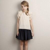 2016 Fashion Brand T Shirts Baby Girls Summer Short Sleeve T Shirts Kids Sweet Petal Sleeve