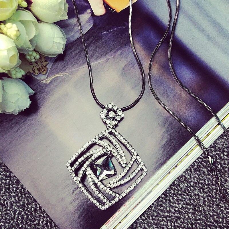 Vintage Geometrisk Krystal Lang Halskæde Kvinder Bijoux Mode Søde - Mode smykker - Foto 3