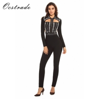Ocstrade Beaded Bandage Jumpsuit 2017 New Women Sexy Cut Out Black Long Sleeve Jumpsuit Women HL