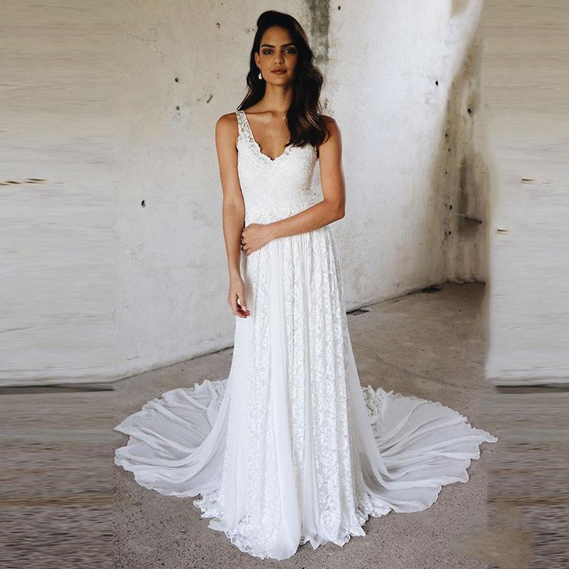 LORIE Beach Wedding Dress Lace V Neck Boho Wedding Gown