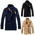 2017 Hombres de Lana de Abrigo Manteau Homme Abrigo Outwear Chaqueta de Moda Para Hombre Casual Invierno Caliente Grueso de Los Hombres de Doble Botonadura Abrigo