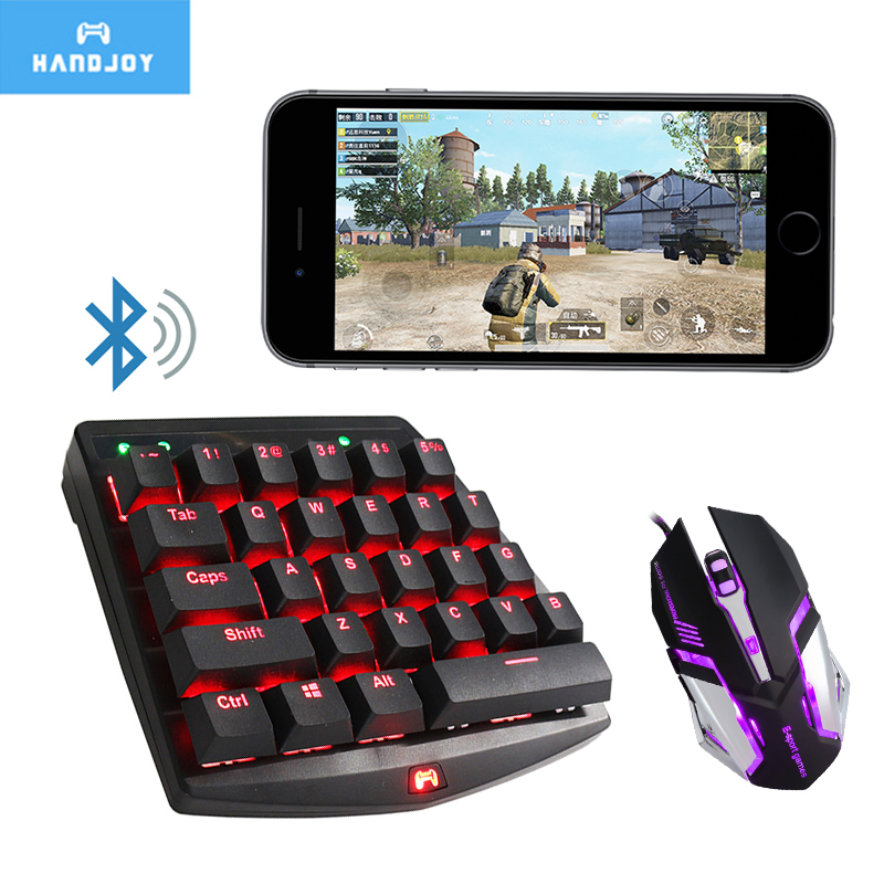 Handjoy K1 Pubg Bluetooth 28 Keys RGB Mechanical Keyboard Gamepad Controller Fire Aim Assist Tool for Pubg Mobile Android Games