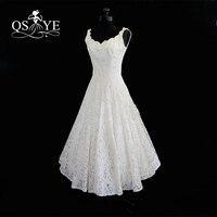 2017 Cheap Plus Size Tea Length Lace Summer Beach Wedding Dresses Real Photos Scoop Neck Sleeveless