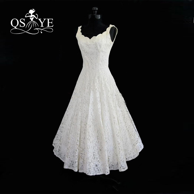2017 Cheap Plus Size Tea Length Lace Summer Beach Wedding Dresses