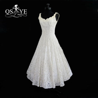 2017 Cheap Plus Size Tea Length Lace Summer Beach Wedding Dresses Real Photos Scoop Neck Sleeveless