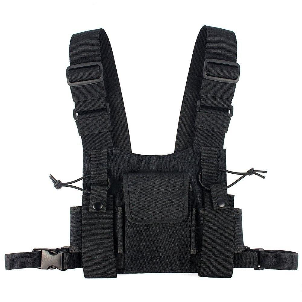 Abbree Radio Chest Harness Brust Vorne Packung Beutel Holster Weste Rig Carry Cade für Baofeng TYT Wouxun Motorola Walkie Talkie