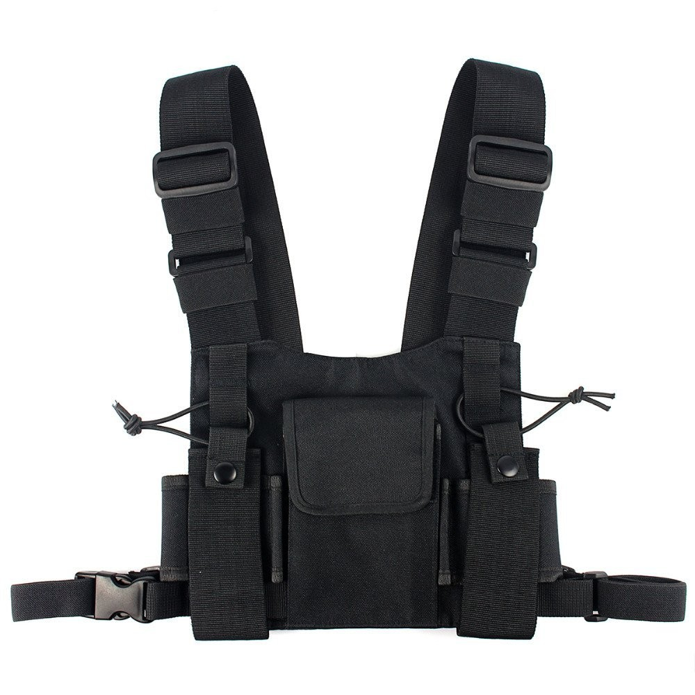 Abbree Radio Chest Harness Chest Front Pack Pouch Holster Vest Rig Carry Cade for Baofeng TYT Wouxun Motorola Walkie Talkie