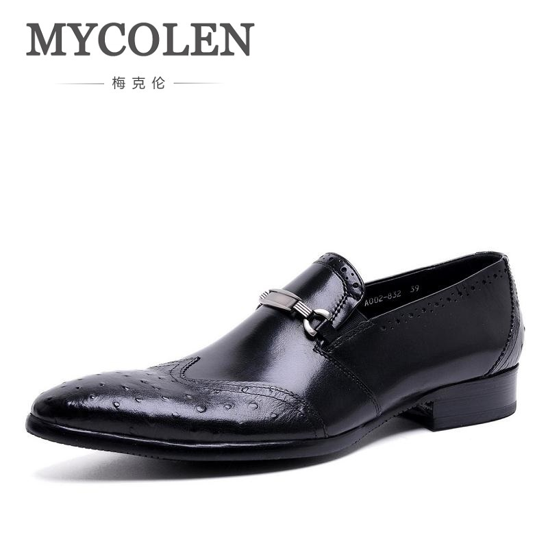 MYCOLEN Luxury Men Dress Shoes Handmade Genuine Leather Pigskin Slip On Italian Flats Shoe Mens Pointed Toe Dress Shoes sinoextreme italian leather handmade crocodile embossed men loafer shoes leisure shoes slip on shoe luxury breathable men shoes