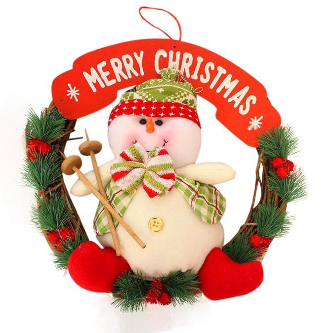 2017 Hot Sale New Christmas Decor Xmas Door Wreath Christmas Garland Party Hanging Door Decorations For