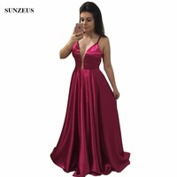 Deep V neck Bridesmaid Dresses Long Fuchsia Satin Party Gowns For Wedding Simple Prom Gowns Spaghetti Straps BDS045